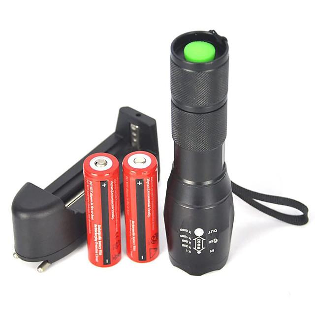 UltraFire E17 ไฟฉาย LED zoomable 2000 lm นาฬิกา LED LED 1 อิมิเตอร์ 5 โหมดโคมไฟ with Battery and Charger zoomable ปรับจุดโฟกัสได้ พลังงานสูง แคมป์ปิ้ง / การปีนเขา / เที่ยวถ้ำ ใช้เป็นประจำ ปั่นจักรยาน