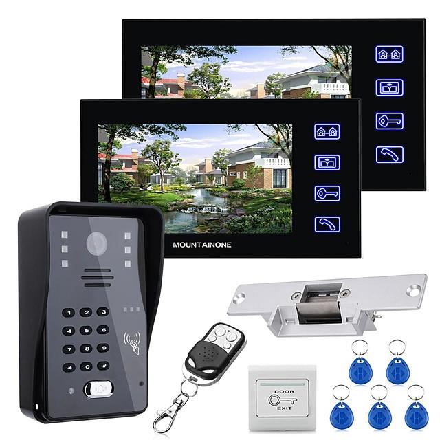 Mountainone 7 LCD 두 모니터 비디오 문 전화 인터콤 시스템 RFID 도어 액세스 제어 키트 야외 카메라 전기 스트라이크 잠금 무선 원격 제어