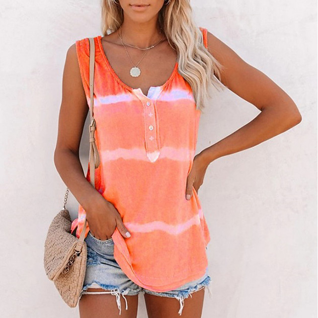 Women's Tank Top Striped Round Neck Tops Cotton Basic Top Purple Blushing Pink Orange