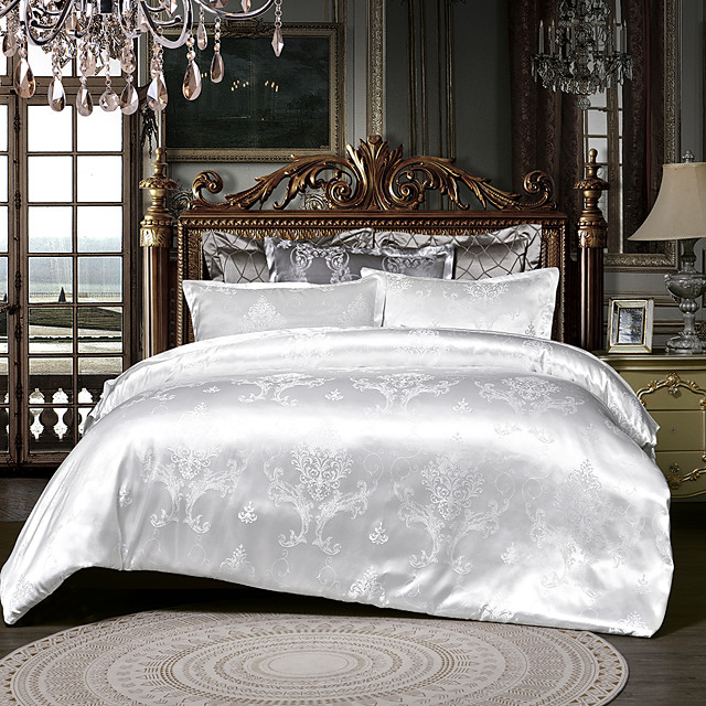 Duvet Cover Sets 3 Piece Rayon / Polyester Floral / Botanical White Printed & Jacquard Luxury / 600 / 3pcs (1 Duvet Cover, 2 Shams)