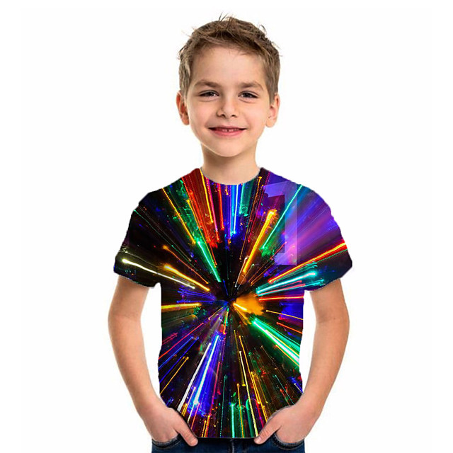 Kids Boys' T shirt Tee Short Sleeve Geometric Children Summer Tops Basic Holiday Rainbow