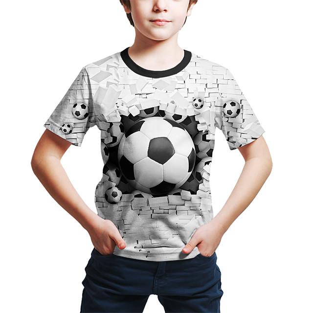Enfants Bébé Garçon T-shirt Tee-shirts Manches Courtes Géométrique 3D Imprimé Enfants Le Jour des enfants Eté Hauts Actif Chic de Rue Blanche Violet Rouge