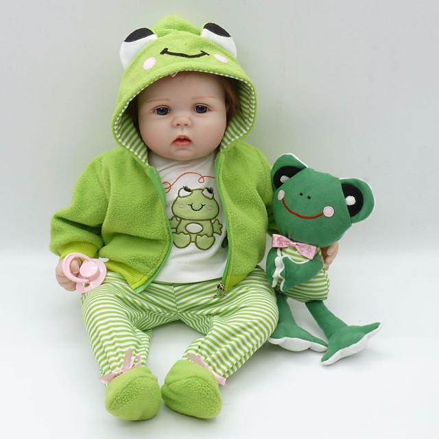 Vêtements de poupées Reborn Baby Accessoires de poupée Reborn Tissu en Coton pour poupée Reborn de 22 à 24 pouces Poupée Reborn Non Incluse Grenouille Doux Pur fait main Garçon 4 pcs