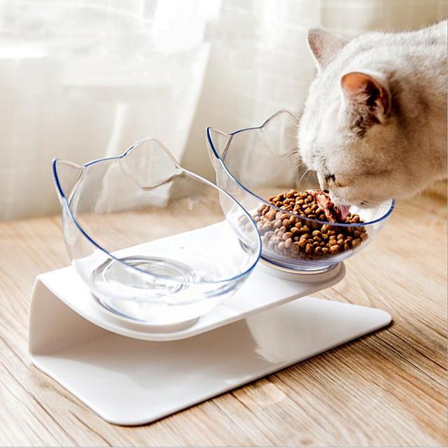 القوارض كلاب قطط مغذيات 0.3 L بلاستيك لون سادة موضة شفاف السلطانيات والتغذية