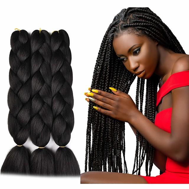 Crochet Hair Braids Jumbo Box Braids Noir Marron foncé Cheveux Synthétiques Long Rajouts de Tresses 6pcs 3pcs 1pc