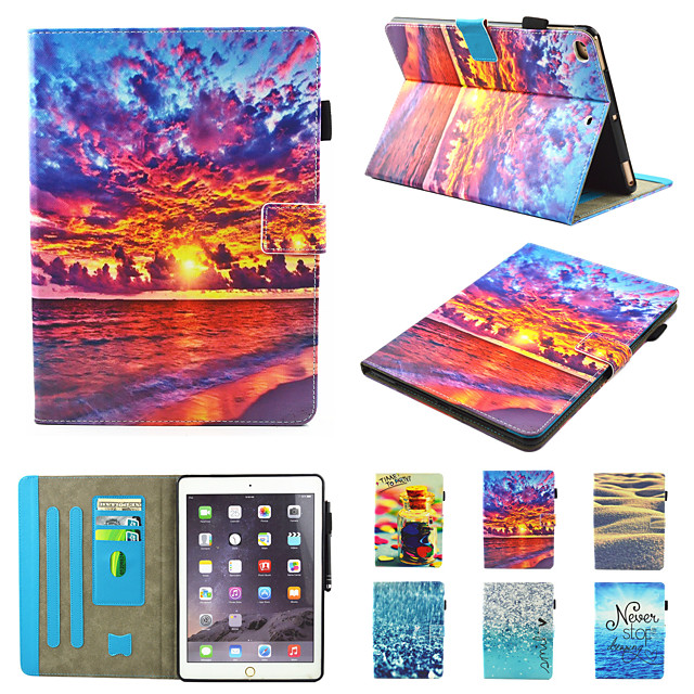 telefono Custodia Per Apple Integrale iPad Air iPad (2018) iPad Air 2 iPad (2017) iPad Pro 9.7 '' Rotazione a 360° Resistente agli urti A calamita Farfalla Paesaggi Panda pelle sintetica TPU