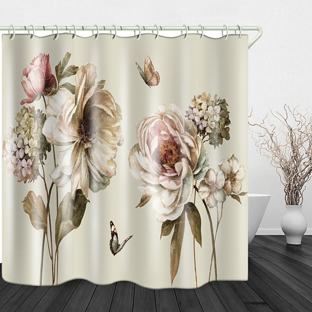 Blooming Flowers Digital Print Polyester Shower Curtain for Bathroom with Shower Curtain Hooks Waterproof