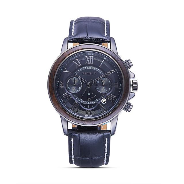 สำหรับผู้ชาย นาฬิกาแนวสปอร์ต นาฬิกาอิเล็กทรอนิกส์ (Quartz) สไตล์สมัยใหม่ สไตล์ ไม่เป็นทางการ กันน้ำ ระบบอนาล็อก สีทอง+สีน้ำตาล สีดำ สีน้ำตาล / หนัง / ปฏิทิน / noctilucent