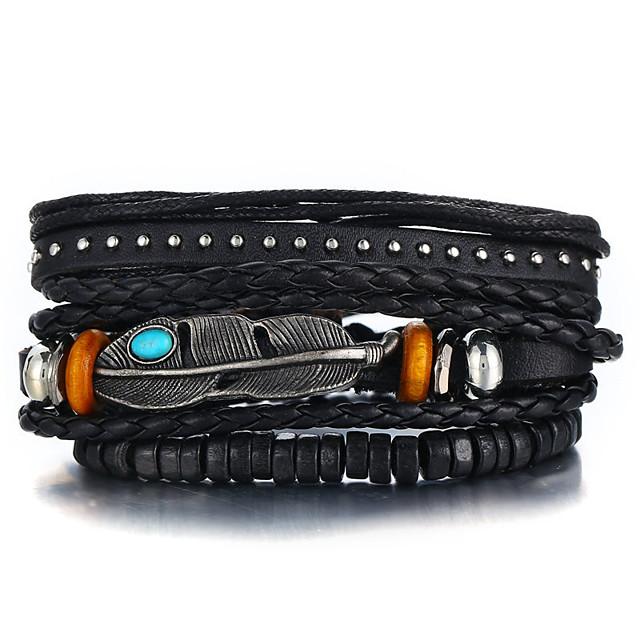 3 stuks Heren Bangles Vintage Armbanden Lederen armbanden Klassiek Patroon Vintage Punk Europees Etnisch Gothic Leder Armband sieraden Zwart Voor Feest / Avond Lahja Verjaardag Festival