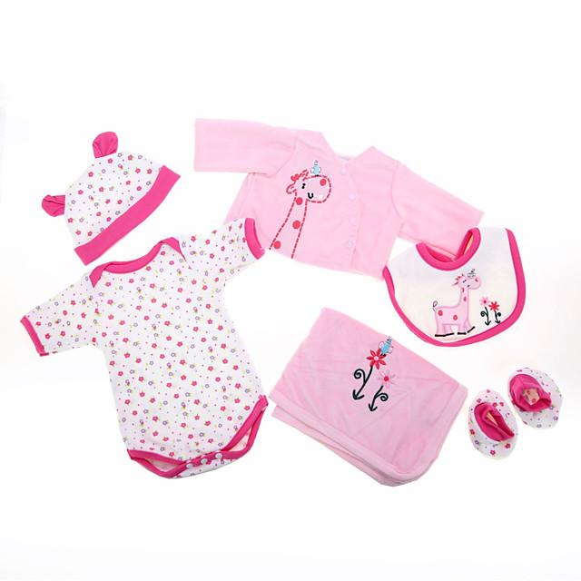Vêtements de poupées bébé Reborn Accessoires pour poupées Reborn Tissu en Coton pour poupée Reborn 22-24 pouces Ne pas inclure la poupée Reborn Girafe Doux Pur fait main Fille 6 pcs