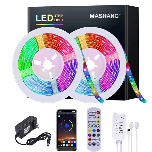 mashang 5m 10m 15m 20m led led benzi rgb impermeabil led bandă de lumină muzică sincronizare 2835 smd schimbare de culoare led led bandă și 24 de taste telecomandă bluetooth controler pentru dormitor