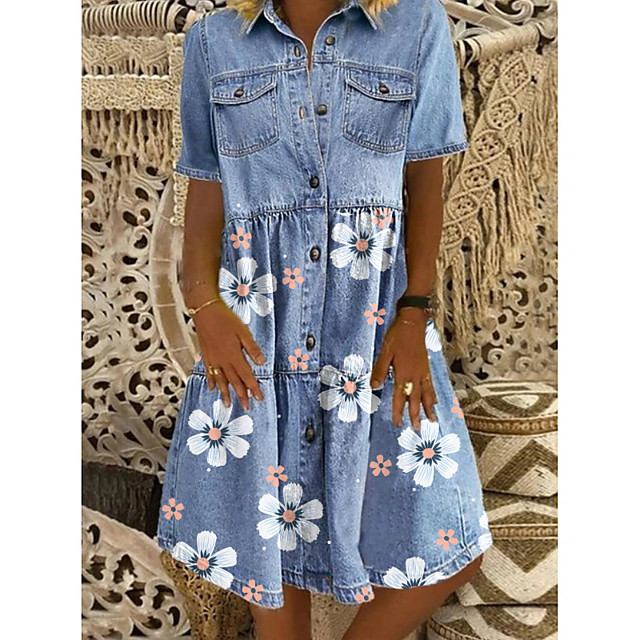 Women's Denim Shirt Dress Knee Length Dress Blue Short Sleeve Floral Pocket Button Front Summer Shirt Collar Hot Casual 2021 M L XL XXL 3XL