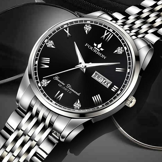 Муж. Механические часы Кварцевый Стильные Классика Защита от влаги Аналого-цифровые Черный + Gloden Белый + Silver Черный / Один год / Нержавеющая сталь