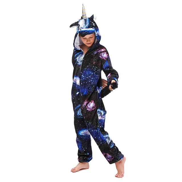 Kinderen Kigurumi pyjamas Unicorn vliegend Paard Onesie pyjamas Flanel Int Blauw Cosplay Voor Jongens en meisjes Dieren nachtkleding spotprent Festival / Feestdagen kostuums / Gympak / Onesie