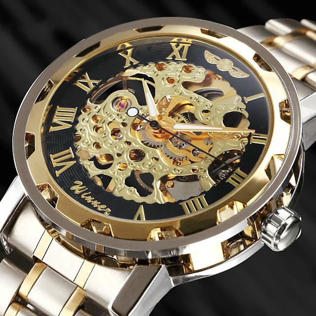 WINNER 男性用 スケルトン腕時計 リストウォッチ 機械式時計 自動巻き ぜいたく 透かし加工 ハンズ ゴールデン / ステンレス