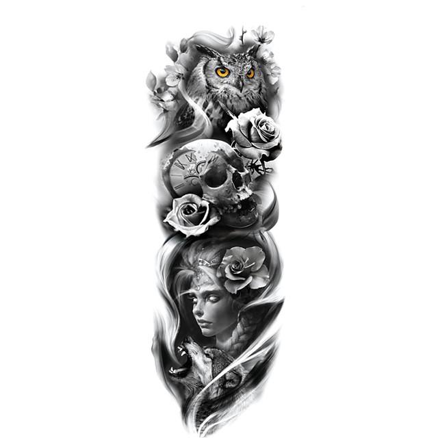 1 ورقة كامل الذراع الوشم تصاميم الوشم المؤقت للرجال konsait إضافية المؤقتة الوشم ملصقات الوشم الأسود الجسم لرجل إمرأة tq81-100