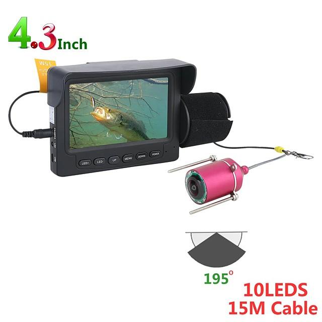 15 메터 1200Tvl 물고기 파인더 수중 낚시 카메라 4.3 인치 모니터 10 개 LED 나이트 비전 195 학위 낚시