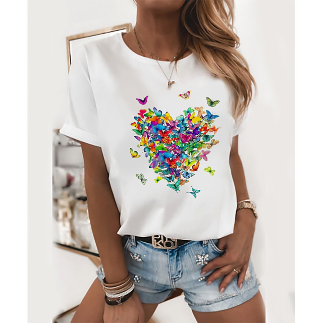 Women's T shirt Butterfly Round Neck Tops 100% Cotton Basic Basic Top Black and Green Butterfly Cat