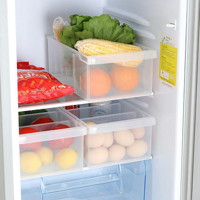plastová úložná krabička 1 ks se 3 mřížkami pro skladování v kuchyni a lednici