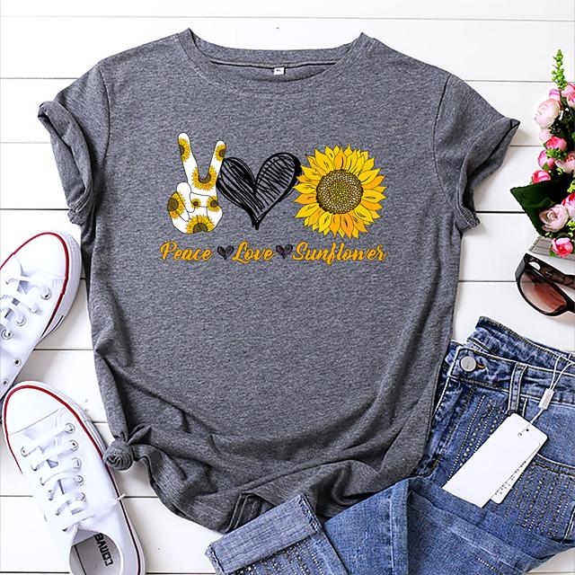 Dames T-shirt Bloemen Grafisch Tekst Opdruk Ronde hals Tops 100% katoen Basic Basis-top Wit Geel Blozend Roze