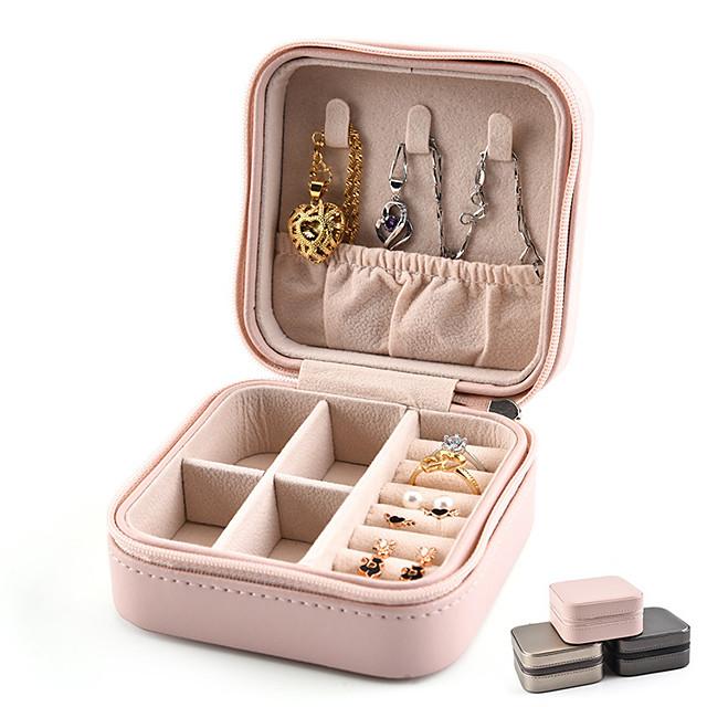 ארגונית נסיעות למזוודה מחזיק תכשיטים מארגן תכשיטים רב תכליתי עמיד למים נייד צבע אחיד דמוי עור- סקאי עבור לטבעות, שרשראות, צמידים, עגילים