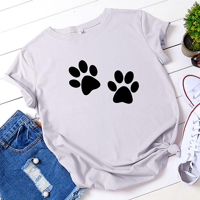 Women's T shirt Dog Print Round Neck Tops 100% Cotton Basic Basic Top White Yellow Blushing Pink