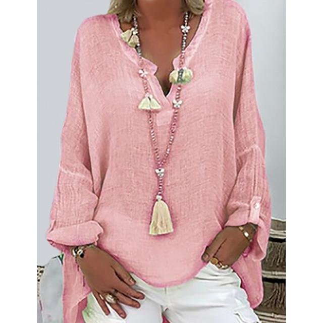 T shirt Femme Casual Grandes Tailles Couleur Pleine Manches Longues Col en V Hauts Ample Haut de base Blanche Noir Rose Claire