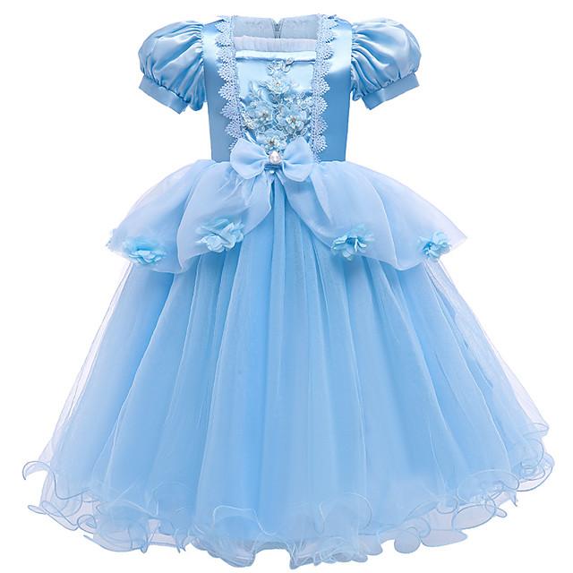 Cinderella Prinses Jurken Bloemenmeisje jurk Voor meisjes Film cosplay A-Lijn Slip vakantie jurk Blauw Kleding Kerstmis Halloween Kinderdag Polyesteri