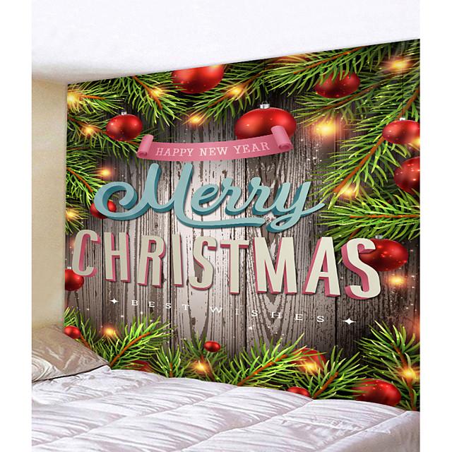 kerst kerstman wandtapijten art decor deken gordijn picknick tafelkleed opknoping thuis slaapkamer woonkamer slaapzaal decoratie kerstboom houten bord bal polyester