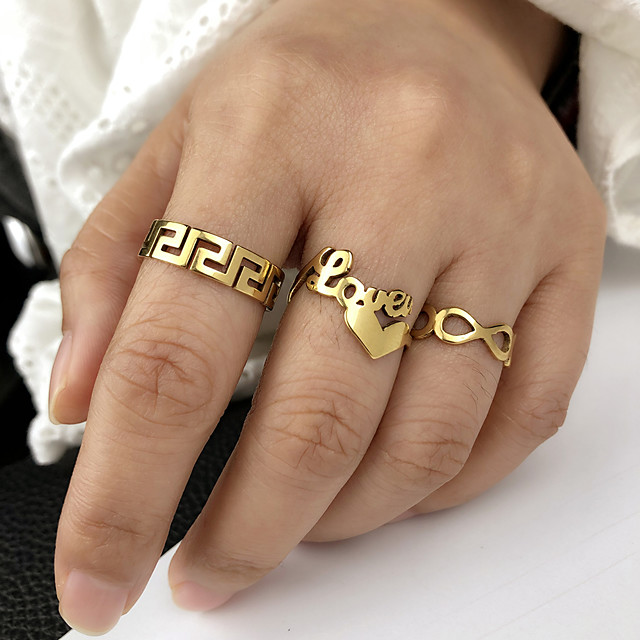 Ring meetkundig Goud Zilver Roestvast staal Hart Stijlvol Eenvoudig Luxe 3 stuks Verstelbaar 7-9 / Dames