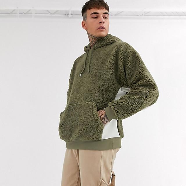 Voor heren Pullover Sweatshirt Effen Kleur Dagelijks Weekend niet-afdrukken Basic Feest Hoodies Sweatshirts Leger Groen