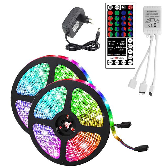 10m (2 * 5m) lumini cu bandă flexibile led impermeabile rgb tiktok lumini 2835 600leds 8mm 44keys ir telecomandă