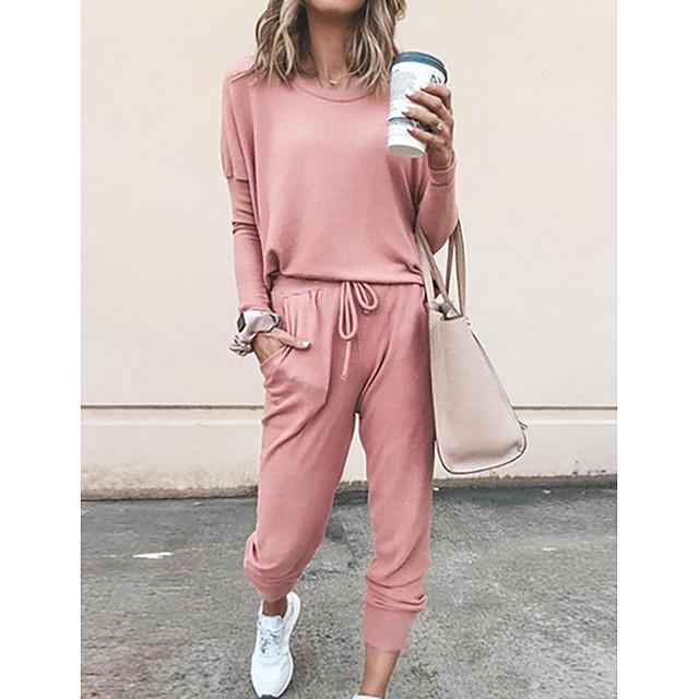 Per donna Tinta unita Liscio Set due pezzi Tuta da ginnastica maglietta Pantalone loungewear Pantaloni da jogger 2 pezzi Top