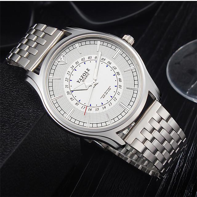 YAZOLE Voor heren Stalen Horloge Kwarts Formele Stijl Moderne Style Informeel Waterbestendig Analoog White + Silver Wit / Roestvrij staal / s Nachts oplichtend