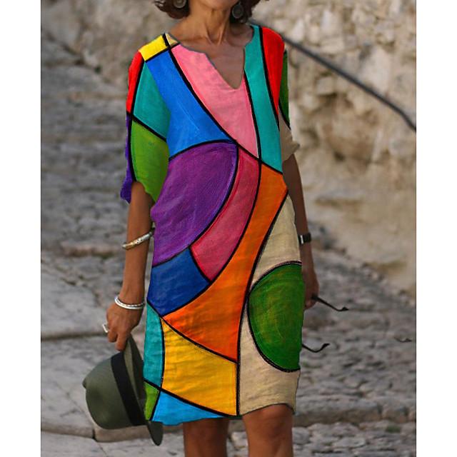 Dames Hemdjurk Knielengte jurk Halve mouw Kleurenblok Opdruk Herfst Zomer heet Informeel vakantie jurken 2021 Regenboog M L XL XXL 3XL