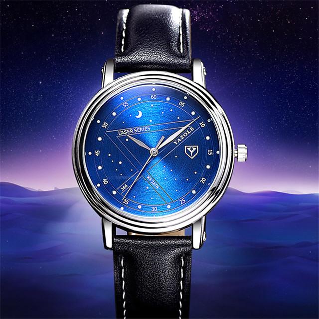 YAZOLE Homens Relógio Esportivo Quartzo Estilo Moderno Fashion Casual Impermeável Analógico Preto Azul Marron / Couro