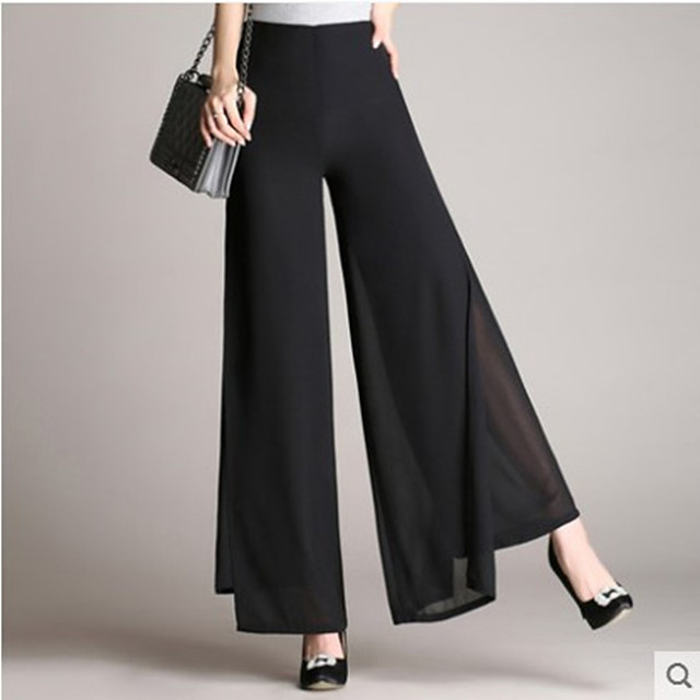 Women's Basic Comfort Daily Wide Leg Pants Solid Colored Full Length Classic White Black