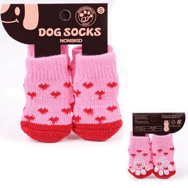 Hund Schuhe und Stiefel Socken Welpenkleidung Streifen Lässig / Alltäglich warm halten Winter Hundekleidung Welpenkleidung Hunde-Outfits Zufällige Farben Kostüm für Mädchen und Jungen Hund Baumwolle