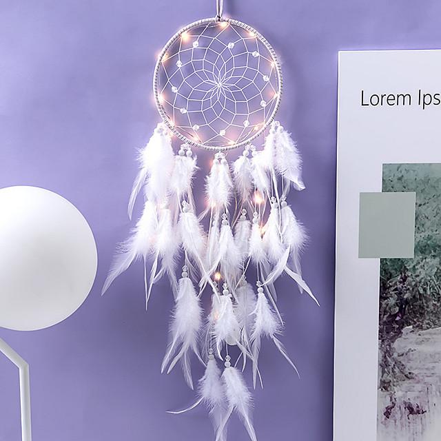 LED boho dream catcher cadeau fait à la main tenture murale décor art ornement artisanat 65 * 16 cm pour enfants chambre festival de mariage