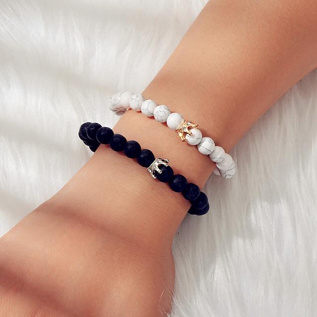 Dames Kralenarmband kralen Mode Etnisch Boho Steen Armband sieraden Zwart + Wit Voor Lahja Afspraakje