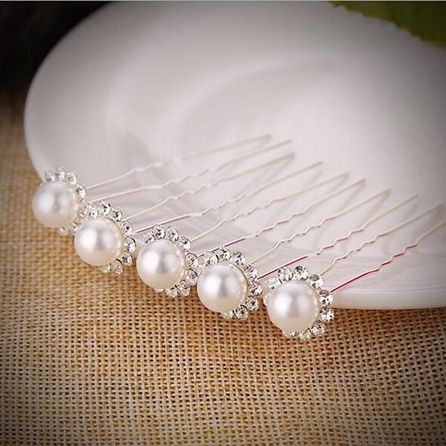 Pentru femei Fete Bețe de Păr Bijuterii de Păr Pentru Nuntă Petrecere / Seară Petrecere de zi de nastere Festival Floare Clasic Imitație de Perle Argilă Aliaj Argintiu 5pcs