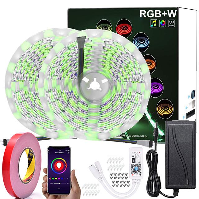 led stripverlichting 33ft 10m (2 * 5m) rgb + w rgb + ww wifi app intelligent dimbaar waterdicht 300leds 5050smd rgb strip light plus met wifi afstandsbediening