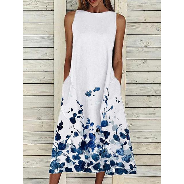 Dames Hemdjurk Midi-jurk Mouwloos Bloemen Opdruk Zomer heet Informeel 2021 Wit Geel Blozend Roze S M L XL XXL 3XL 4XL