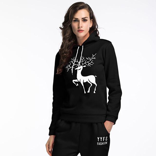 Dames Sweatshirt met capuchon Grafisch Letter Kerstmis Dagelijks Andere prints Basic Informeel Hoodies Sweatshirts Ruimvallend Roze 1 Wit Zwart