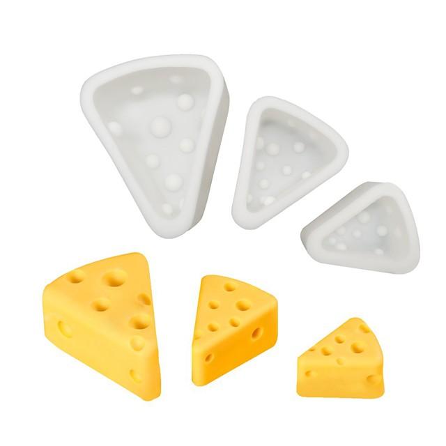 3 قطع 3D الجبن قالب من السيليكون الجبن موس كعكة العفن DIY الإبداعية أدوات الخبز الآيس كريم الشوكولاته العفن