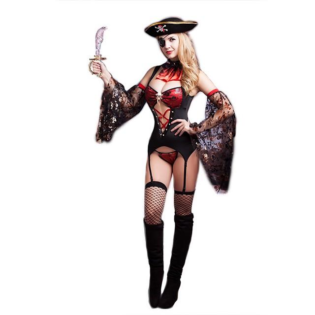 Pirát Dospělé Dámské Cosplay Kostýmy Úbory Pro Polyester Plesová maškaráda Šaty Límeček Rukávy Punčocháče Klobouk Tanga