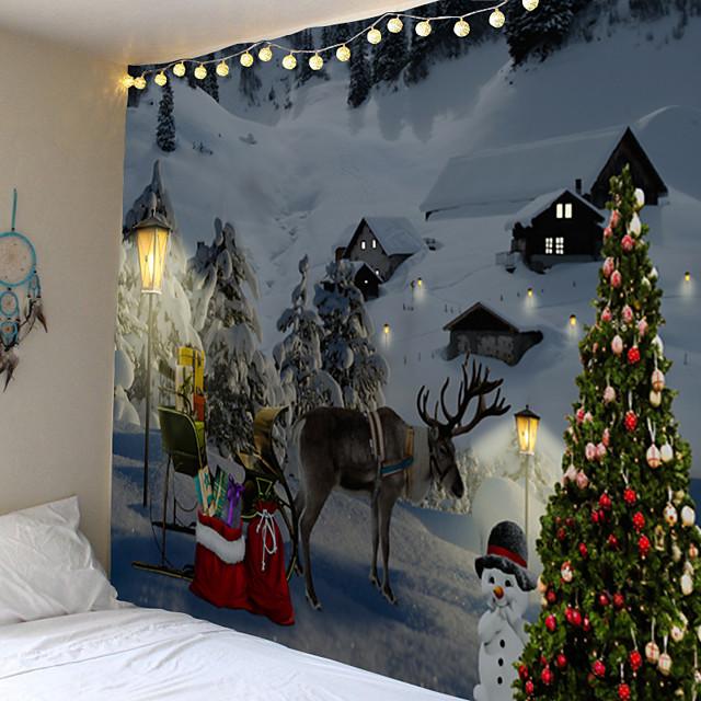 kerst kerstman wandtapijten art decor deken gordijn picknick tafelkleed opknoping thuis slaapkamer woonkamer slaapzaal decoratie elanden sneeuw sneeuwpop kerstboom polyester