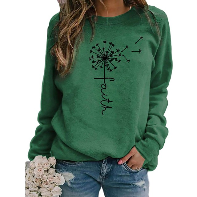 Women's Pullover Sweatshirt Plants Graphic Print Daily Weekend Basic Casual Hoodies Sweatshirts  Blue Yellow Green