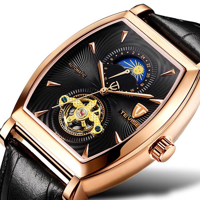 Tevise Voor heren mechanische horloges Automatisch opwindmechanisme Moderne Style Stijlvol Informeel Waterbestendig Analoog Bruin+Goud Zwart / Zilver Black + Gloden / Leer / Maanfase