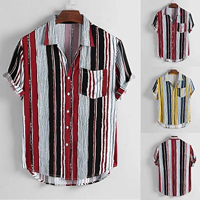 Voor heren Overhemd Andere prints Gestreept Korte mouw Dagelijks Tops Basic Rood Geel